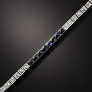 Art Deco Synthetic Sapphire and Diamond Line Bracelet - 2