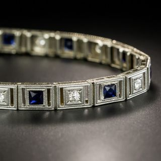 Art Deco Synthetic Sapphire and Diamond Line Bracelet - 3
