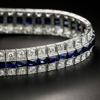 Art Deco Three Row Diamond and Synthetic Sapphire Bracelet  - 5