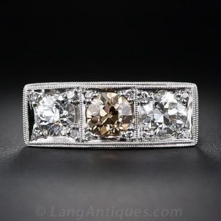 Art Deco  Three-Stone Diamond and  Platinum Ring - 1