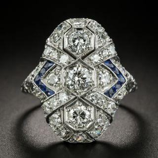 Art Deco Three-Stone Diamond and Sapphire Dinner Ring - 2