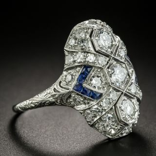 Art Deco Three-Stone Diamond and Sapphire Dinner Ring