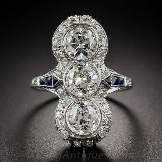 Art Deco Three-Stone Diamond Dinner Ring - 1