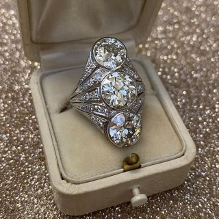 Art Deco Three-Stone Diamond Dinner Ring