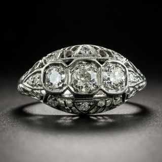 Art Deco Three-Stone Diamond Pierced Dome Ring  - 2