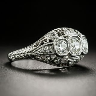 Art Deco Three-Stone Diamond Pierced Dome Ring