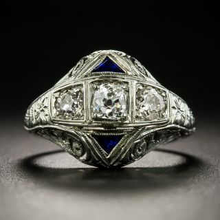 Art Deco Three-Stone Diamond Ring by Belais Bros. - 2