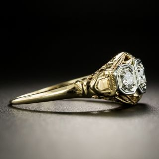 Art Deco Three-Stone Diamond Ring by Klebanoff & Grossman