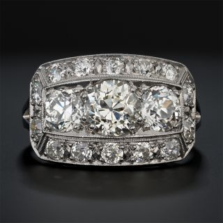 Art Deco Three-Stone Diamond Ring - GIA L VS2 Center - 2