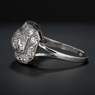 Art Deco Three-Stone Diamond Ring With 1.01 Center Stone - GIA L VS2