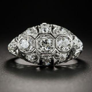 Art Deco Three-Stone Platinum Diamond Ring  - 1