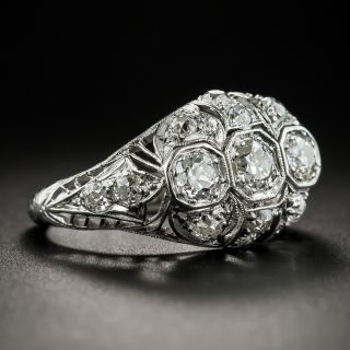 Art Deco Three-Stone Platinum Diamond Ring
