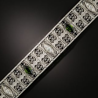 Art Deco Tourmaline and Diamond Filigree Bracelet by Charles Keller - 4