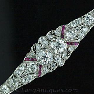 Art Deco Twin Diamond and Calibre Ruby Bracelet - 1