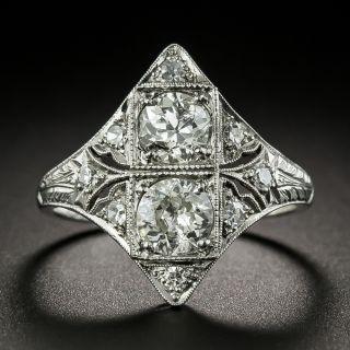 Art Deco Twin-Stone Diamond Dinner Ring - 2