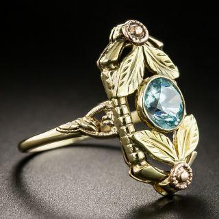 Art Deco Two-Tone Gold Blue Zircon Ring