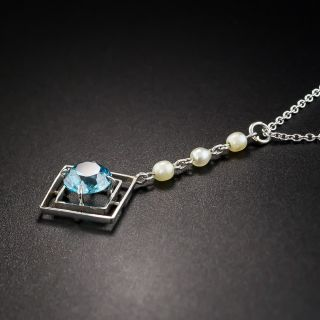 Art Deco Zircon and Seed Pearl Pendant Necklace