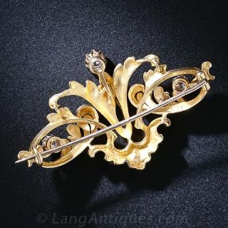 Art Nouveau 22K Gold and Diamond Brooch