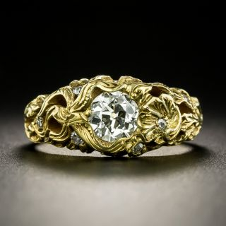 Art Nouveau .69 Carat Diamond Engagement Ring - GIA K VS2 - 2