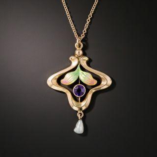 Art Nouveau Amethyst  and Pearl Pendant - 2