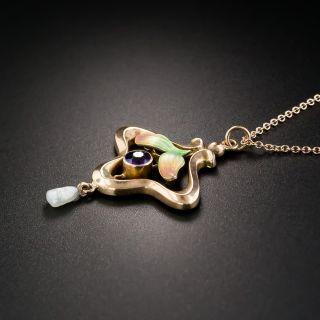 Art Nouveau Amethyst  and Pearl Pendant