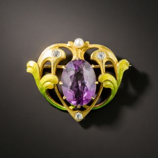 Art Nouveau Amethyst Brooch by Krementz - 3