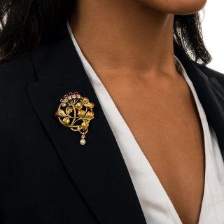 Art Nouveau Autumn Enamel, Ruby, Diamond, and Pearl Pendant/Brooch