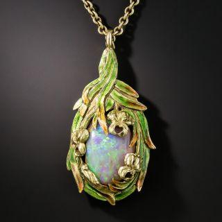 Art Nouveau Boulder Opal Enameled Pendant Necklace - Attributed to Marcus & Co. - 2