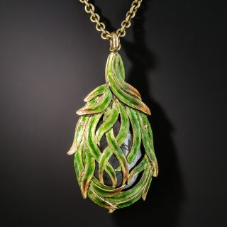 Art Nouveau Boulder Opal Enameled Pendant Necklace