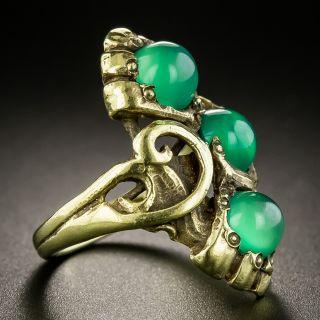 Art Nouveau Chrysoprase Ring by Walton & Co