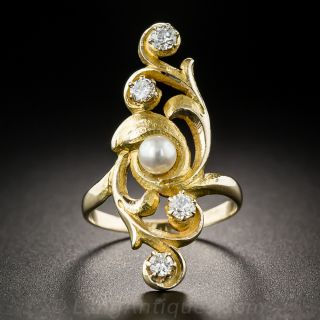 Art Nouveau Diamond and Pearl Dinner Ring - 2