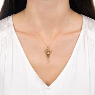 Art Nouveau Diamond and Pearl Drop Necklace