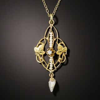 Art Nouveau Diamond and Pearl Pendant - 3