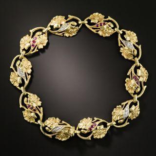 Art Nouveau Diamond and Ruby Floral Bracelet - 2
