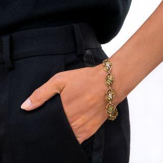 Art Nouveau Emerald and Diamond Bracelet