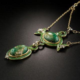 Art Nouveau Emerald and Diamond Lavalière Necklace