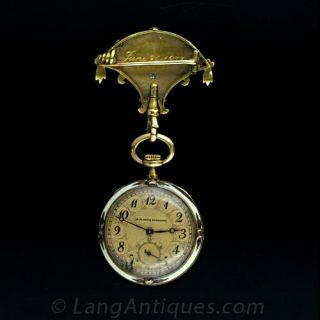 Art Nouveau Enamel and Diamond Lapel Watch