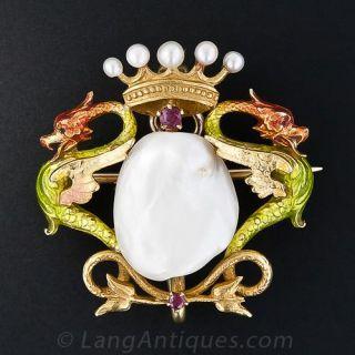 Art Nouveau Enamel and Freshwater Pearl Pin