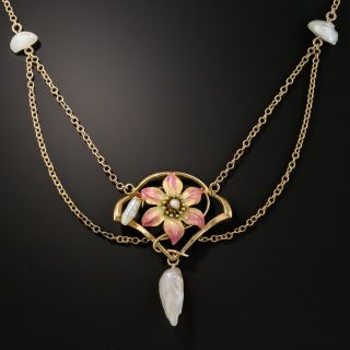 Art Nouveau Enamel and Natural Freshwater Pearl Necklace - 1