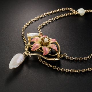 Art Nouveau Enamel and Natural Freshwater Pearl Necklace