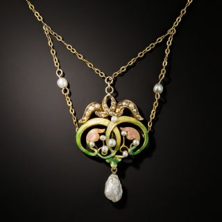 Art Nouveau Enamel and Pearl Swag Necklace - 3