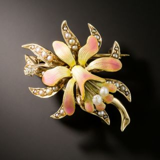 Art Nouveau Enamel, Diamond and Seed Pearl Orchid Brooch - 3