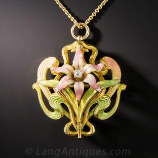 Art Nouveau Enamel Floral Drop