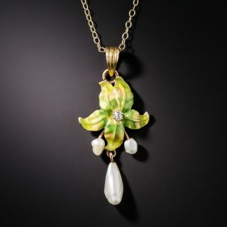 Art Nouveau Enamel Pearl and Diamond Leaf Necklace - 2