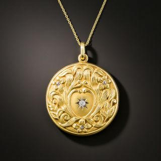 Art Nouveau Floral Round Locket With Diamond - 4
