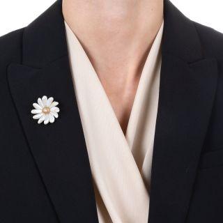 Art Nouveau Freshwater Pearl Flower Pendant/Pin