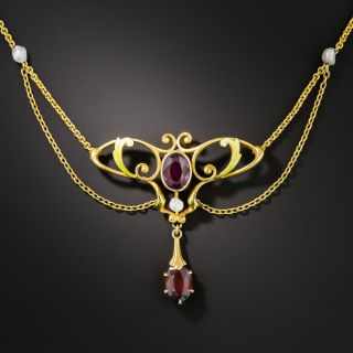 Art Nouveau Garnet Enamel Necklace By Krementz - 1