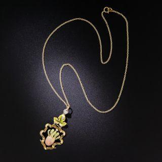 Art Nouveau Iridescent Enamel and Diamond Pendant