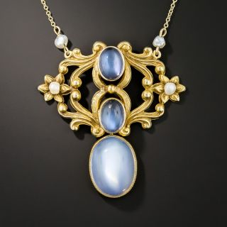 Art Nouveau Moonstone Pendant Necklace - 2
