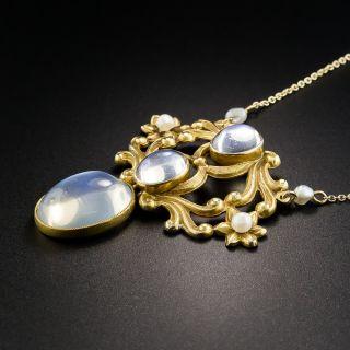 Art Nouveau Moonstone Pendant Necklace